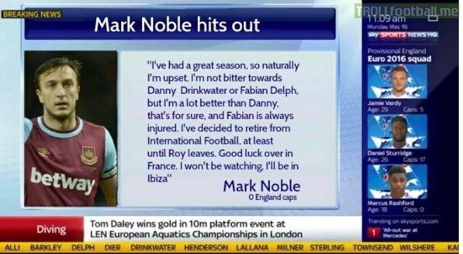 West Ham United FC's Mark Noble on his England Football Team omission 😂😂😂