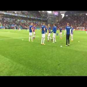 Iceland supporters sing while the team warms up befor game VS Portugal