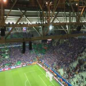 Icelandic fans doing the war chant after the game vs. Portugal