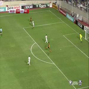 Yannick Ferreira Carrasco scores against Cyprus (0-3)
