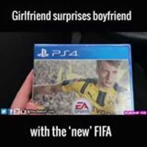 She gave him FIFA 16 on the day FIFA 17 is coming out, his reaction is just says it all: