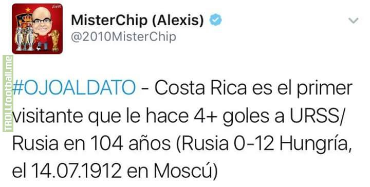 Costa Rica is the first visitor who makes him 4+ goals USSR / Russia in 104 years (Russia 0-12 Hungary, Moscow 14.07.1912)