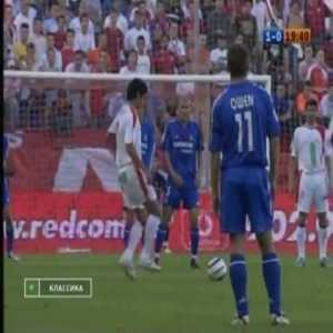 Sergio Ramos (Sevilla) free kick goal 15 years ago (04/05) against Real Madrid. It was a game that made Florentino buy Ramos for €27 million, a record for a Spanish defender. Ramos was the only Spanish player bought by Perez first stint as Madrid's president and he will face Sevilla again tomorrow.