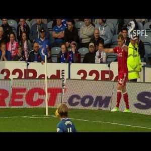 Rangers fan runs out of stadium with match ball