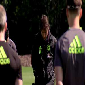 Chelsea FC's squad observed a minute's silence in training following last night's tragic events in Manchester