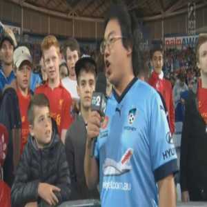 Liverpool vs Sydney Friendly: Half-time interview. This is what we Australians have to put up with.