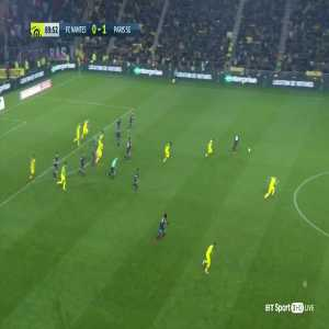 Diego Carlos [FC Nantes] accidentally trips referee during a PSG counter-attack, after which the ref kicks at the player and gives him his second yellow card