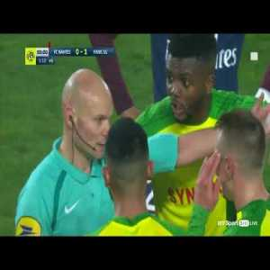 Ligue 1 referee tackles player and then sends him off! must see