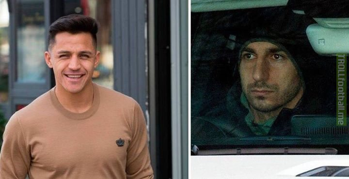 Alexis Sanchez in London and Henrikh Mkhitaryan in Manchester. Both photos taken today. Guess which one is leaving and which one is joining Arsenal.