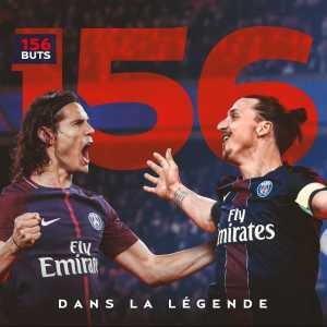 Edinson Cavani is now PSG's joint top goalscorer in history alongside Zlatan Ibrahimović (156 goals)