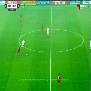 Almoez Ali volley goal to give Qatar the 1-0 lead in the Asian U23 championship