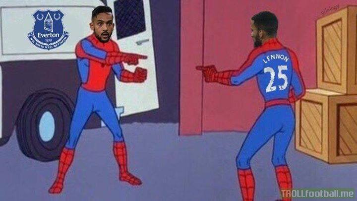 Theo Walcott showing up for his first Everton training session and spotting Aaron Lennon.