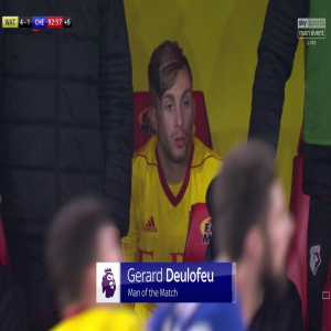 Man of the Match, on his home debut, Watford's Gerard Deulofeu. 57 touches, completed 29/35 passes, 4 chances created, won a penalty, 4 shots, 1 on target, 1st PL goal since for Everton v Stoke in Dec 2015