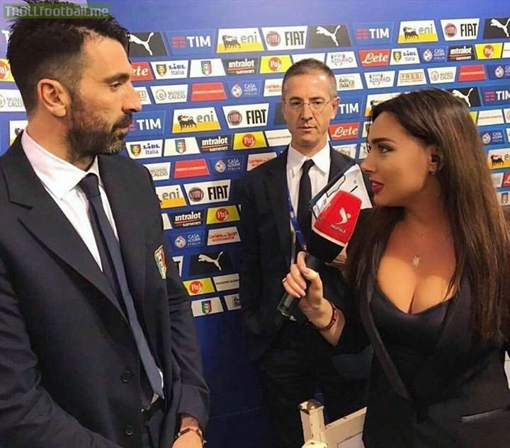 Buffon looks like he knows his wife is watching this on TV