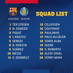 Dembele back in the squad ahead of Getafe game