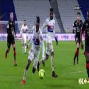 Maxwel Cornet (Olympique Lyonnais) clips Bertrand Traoré (Olympique Lyonnais) in Rennes' box