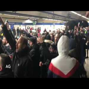 PSG Fans in the Madrid metro station