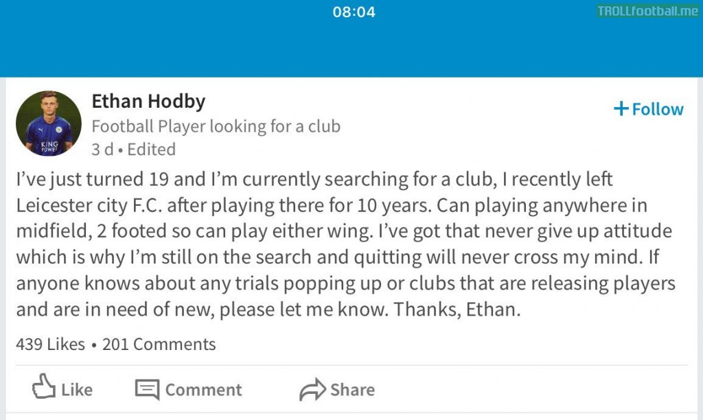 19 Year old Ethan Hodby, who has recently left Leicester City on his search for a new club.. via LinkedIn