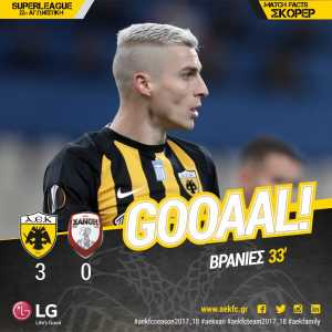 AEK Athens center-back Ognjen Vranjes just scored a 28-minute hat-trick in the first half against Xanthi