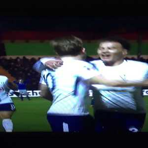 Danny Rose giving a kiss down the camera for Ryan Mason