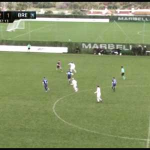 Nicklas Bendtner curves a beautiful long shot in a training match (RBK - Dinamo Brest)