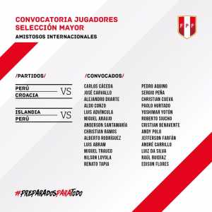 Official: Peru squad for friendlies against Croatia and Iceland