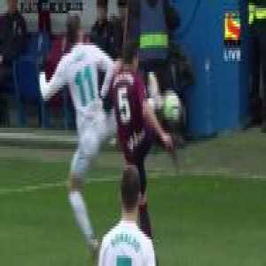 Gareth Bale gets a yellow card for getting kicked