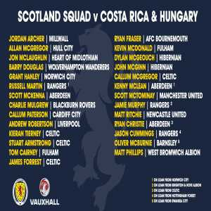 Scotland squad announced for Costa Rica and Hungary.