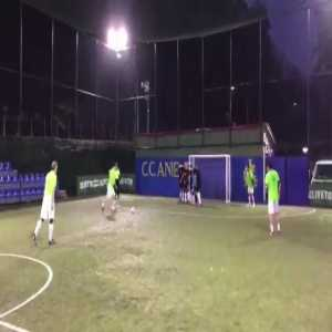 Totti powerful free kick at a Rome five-a-side tournament