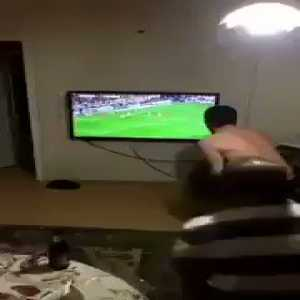 Fenerbahce fans reacting to a last minute chance missed against Galatasaray