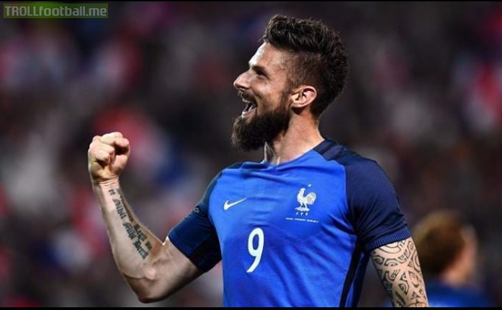 ⚽🇫🇷 Goals for France... - Giroud: 30 - Benzema: 27 - Cantona: 20 - Griezmann: 18 - Ribery: 16 - Anelka: 14 The Chelsea forward moves to just one behind Zidane in all-time goals for his country.