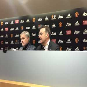 Jose Mourinho and Carlos Carvalhal are currently sat together giving a post match press conference.