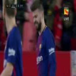 Pique goal line clearance vs Sevilla