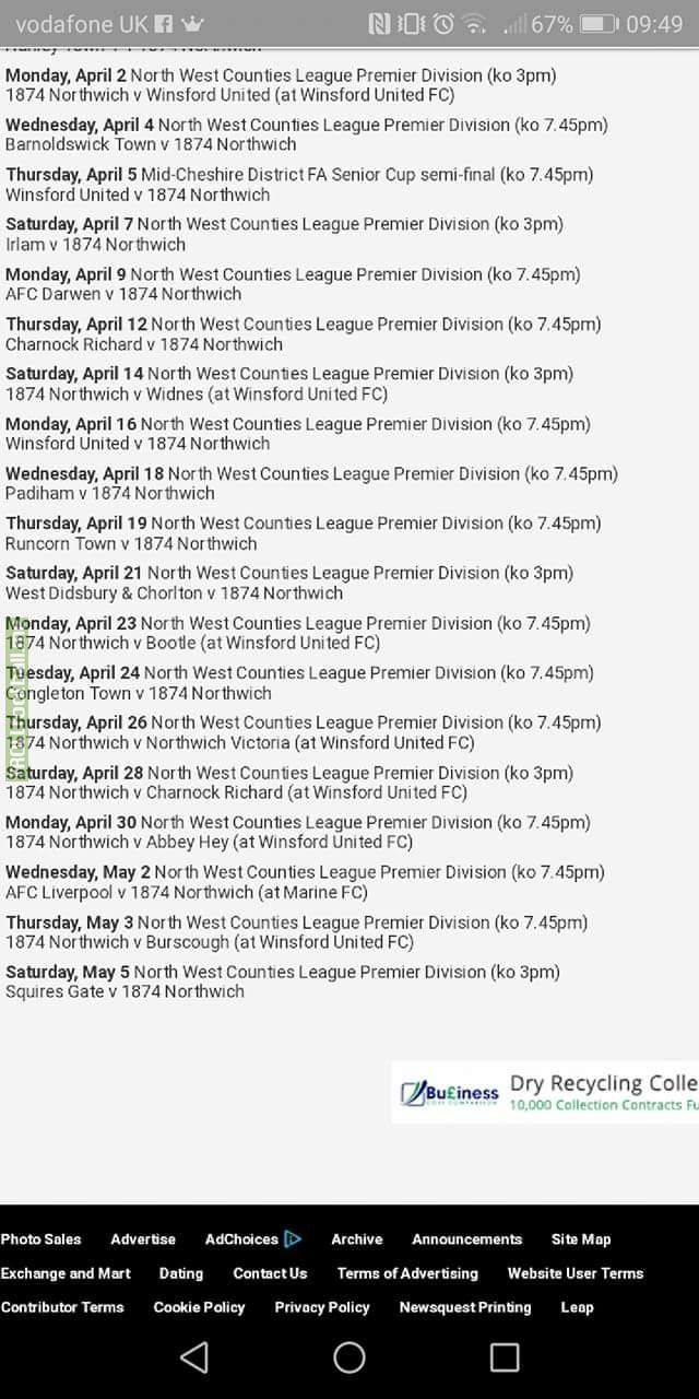 Northwich's fixture list