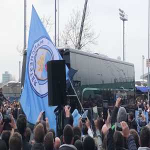 A different type of coach welcome for Man City tonight