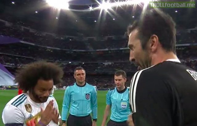 "Marcelo looking at Buffon like, ""sorry, your last game is gonna be pretty sh*te, we bought the ref."""