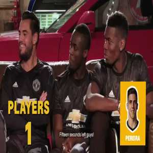 """United players playing """"name that player. """"Lukaku asks: He's French, Never happy"""" - Pogba, Bailly, and Romero answer: """"Martial"""""""