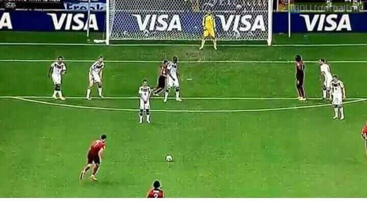 A little throwback to 2014 world cup when Cristiano Ronaldo was insulted by German Team as they didn't put a wall for his free kick, and it resulted in hitting the only player standing in front of him. Goat 🐐