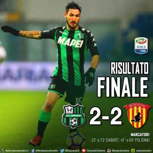 After 15 straight losses, Benevento pick up their first away point of the season with a 2-2 draw at Sassuolo