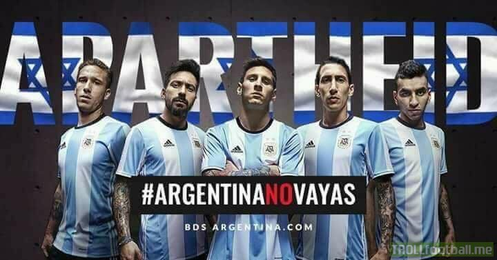 Argentina Cancels Football match with Israel 😲  Argentina 🇦🇷 football team wants to Cancel their match (Friendly) with Israel because of the on going Bombing in Syria 🇸🇾 If the match happens, Lionel Messi, Mascherano , Sergio Aguero , Higuain and Angel Di Maria. will not participate. They deserve Massive Respect ❤