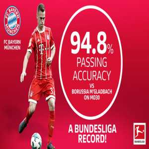 Bayern set a Bundesliga record of 94.8% passing accuracy against Gladbach
