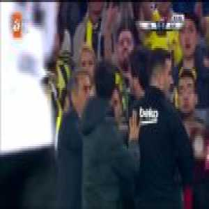 Besiktas players walk off the pitch and match vs. Fenerbahçe is paused after Besiktas manager Senol Günes is hit by a projectile