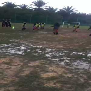 Amateur women's soccer players going all out in Malaysia.