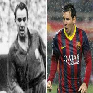 Lionel Messi equals Telmo Zarra's 68 year old record by scoring in five Copa del Rey finals.