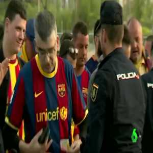 Spanish police confiscating yellow t-shirts before the Copa del Rey final