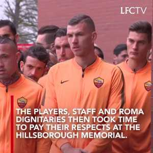 After touching down on Merseyside, Roma headed to Anfield to pay their respects at the Hillsborough memorial with captain Daniele De Rossi laying a floral tribute.