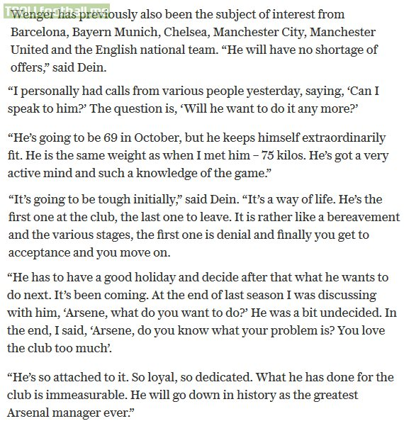 David Dein comments on Arséne Wenger