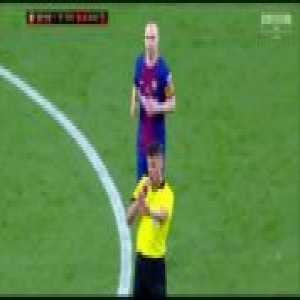 During CdR final, Iniesta broke character and had a heated altercation with the referee, a few minutes later he approached the referee and apologized. (Thanks to u/Nrozek for the clip)