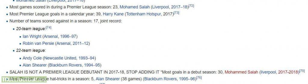 On the Wikipedia page for PL scoring records...