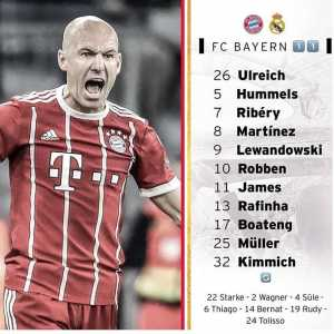 Bayern's lineup against Madrid- Alaba not in the squad, Thiago on the bench and Rafinha starts at rb.